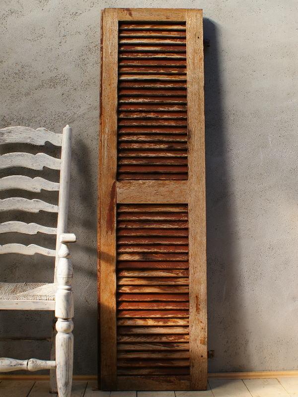 フレンチ アンティーク 木製ルーバー雨戸 ディスプレイ 建具 5996