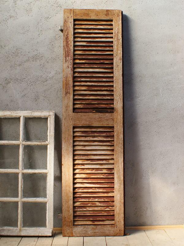 フレンチ アンティーク 木製ルーバー雨戸 ディスプレイ 建具 5997