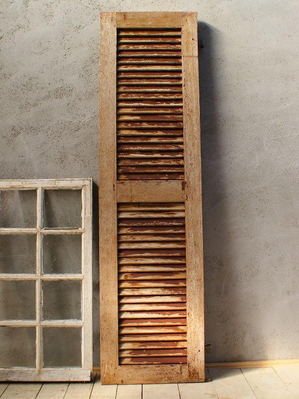 フレンチ アンティーク 木製ルーバー雨戸 ディスプレイ 建具 5998