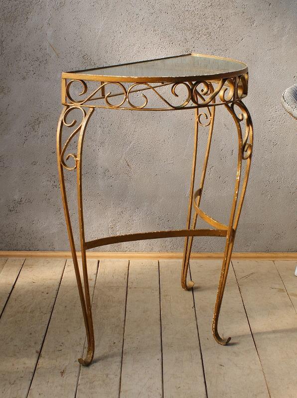 イギリス アンティーク アイアンガラストップテーブル 6013