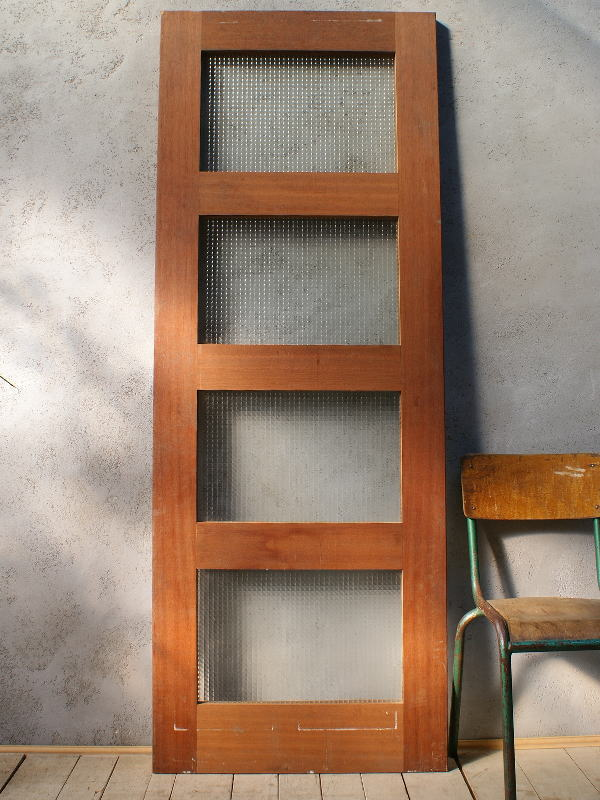 イギリス アンティーク ガラス入り木製ドア 扉 ディスプレイ 建具 6062