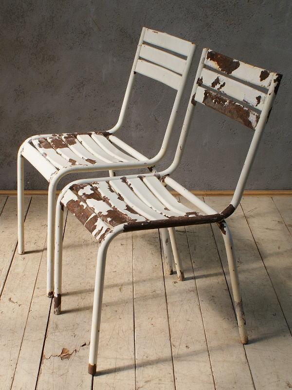 フレンチ アンティーク スタッキング ガーデンチェア 椅子 6069