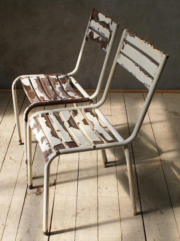 フレンチ アンティーク スタッキング ガーデンチェア 椅子 6097
