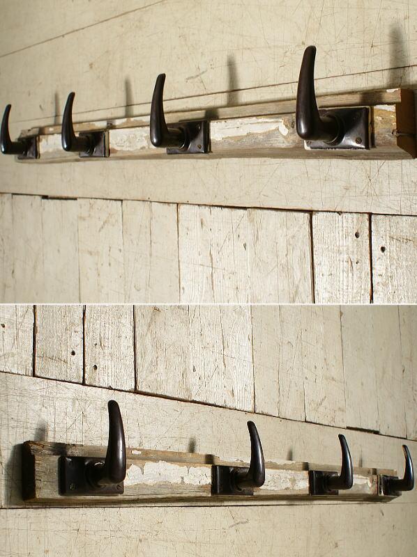 イギリス アンティーク 壁掛けフック 4連 6180