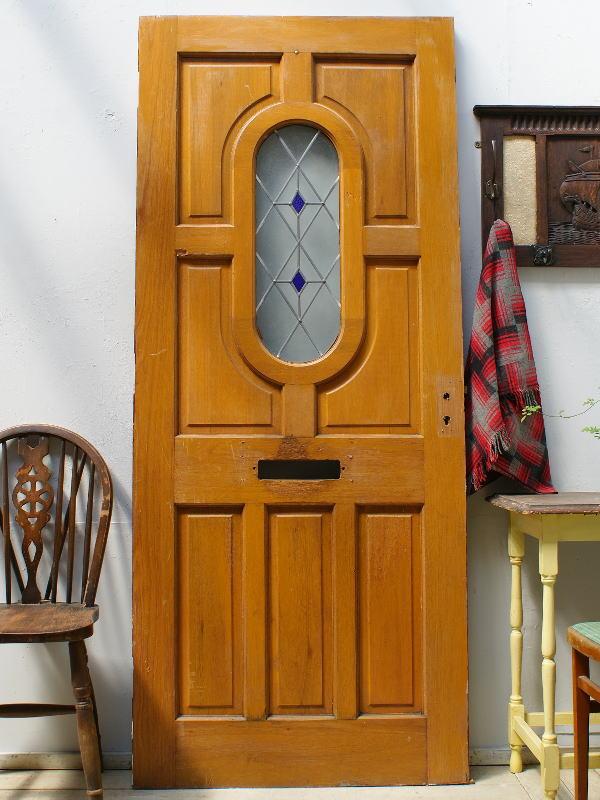 イギリス アンティーク ガラス入り木製ドア 扉 ディスプレイ 建具 6190