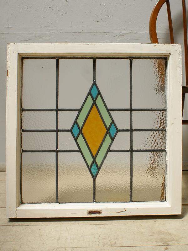 イギリス アンティーク ステンドグラス 幾何学  6252