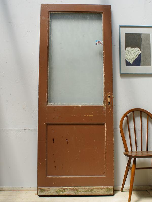 イギリス アンティーク ガラス入り木製ドア 扉 ディスプレイ 建具 6276
