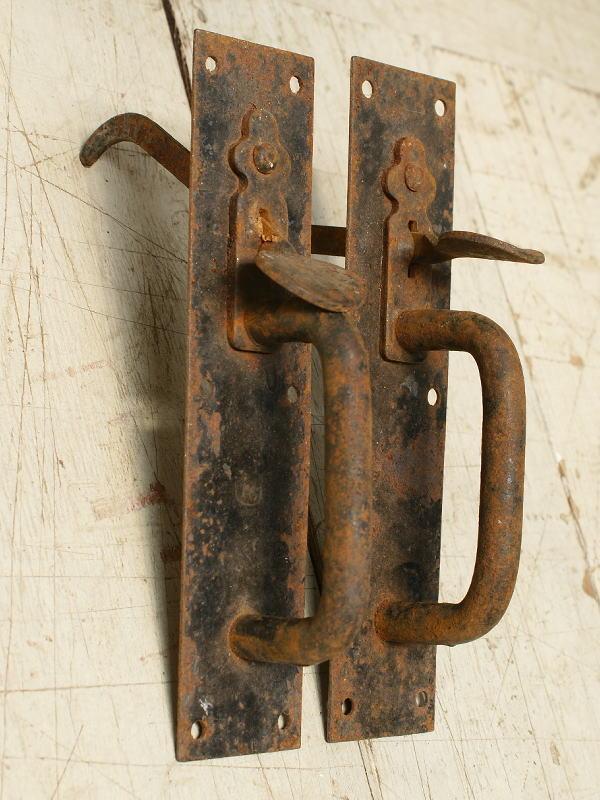 イギリス アンティーク 鉄製ドアハンドル ペア 取っ手 6293