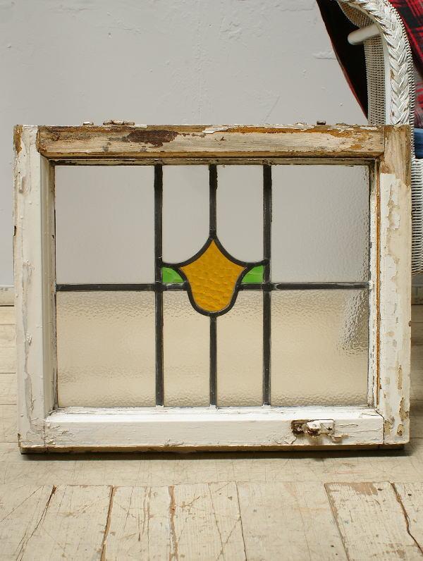 イギリス アンティーク ステンドグラス 幾何学 6306
