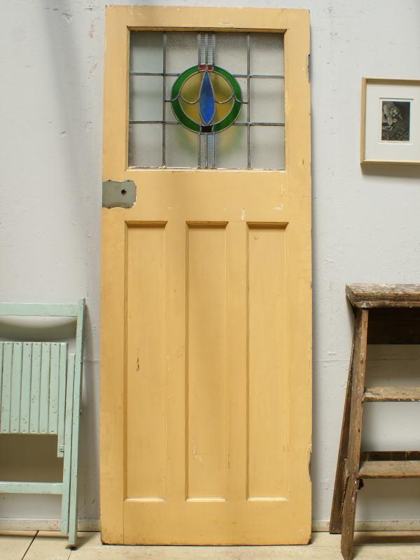 イギリス アンティーク ステンドグラス入り木製ドア 扉 ディスプレイ 建具 6360