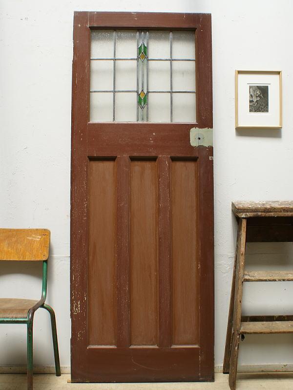イギリス アンティーク ステンドグラス入り木製ドア 扉 ディスプレイ 建具 6374