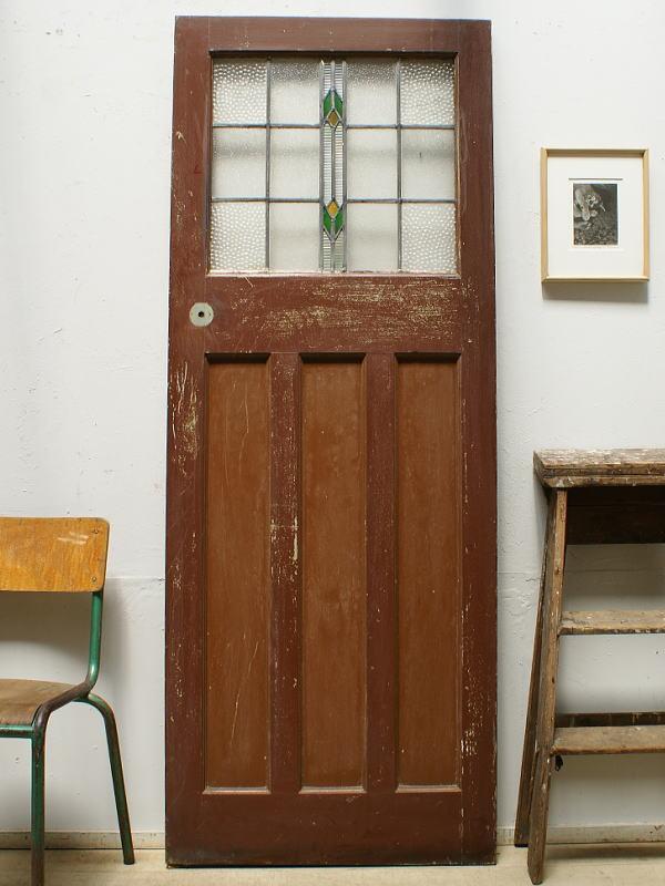 イギリス アンティーク ステンドグラス入り木製ドア 扉  建具 6375