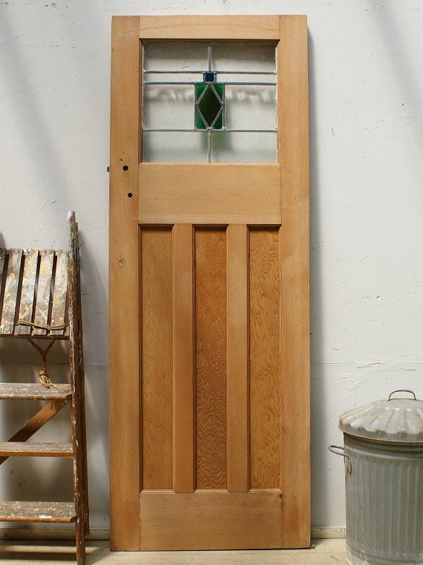 イギリス アンティーク ステンドグラス入り木製ドア 扉 ディスプレイ 建具 6449