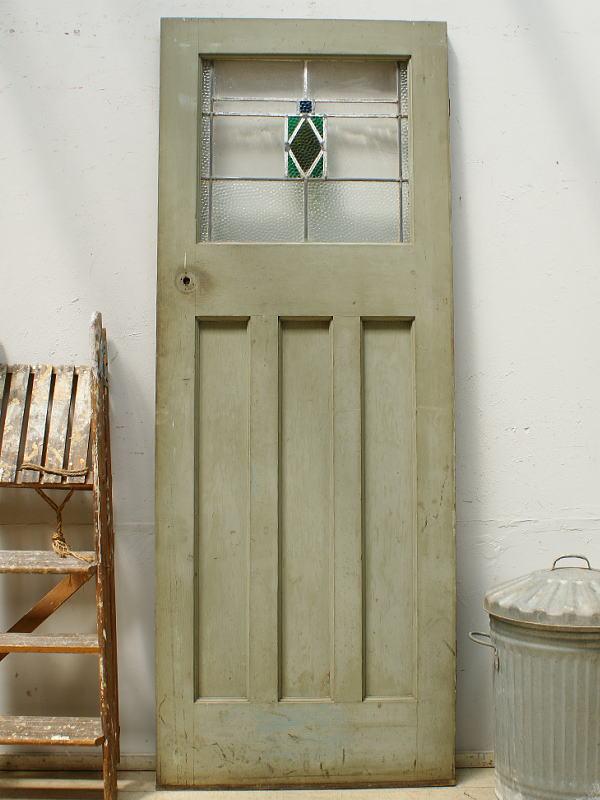 イギリス アンティーク ステンドグラス入り木製ドア 扉 ディスプレイ 建具 6450