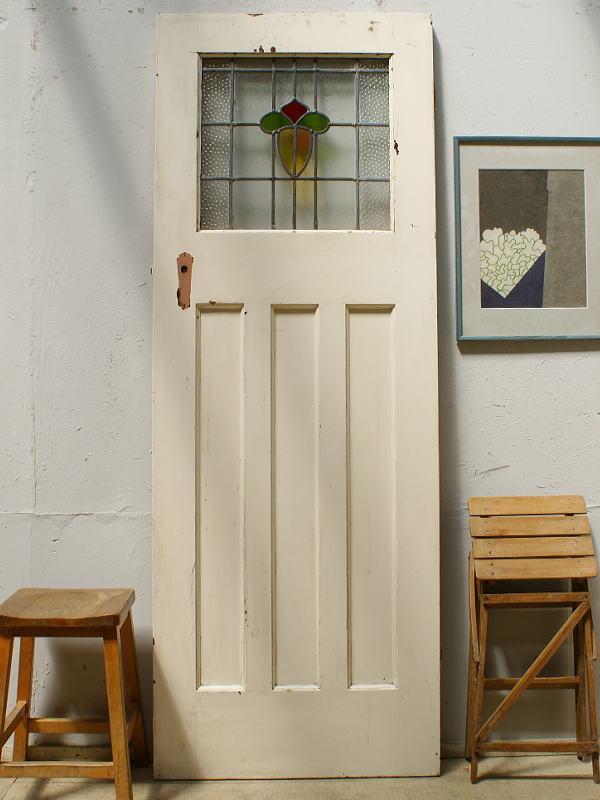 イギリス アンティーク ステンドグラス入り木製ドア 扉 ディスプレイ 建具 6451