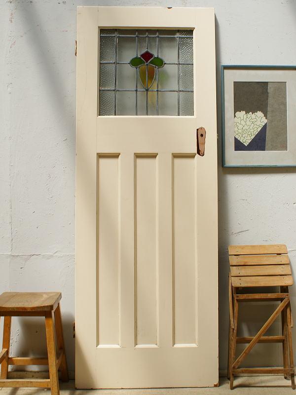 イギリス アンティーク ステンドグラス入り木製ドア 扉 ディスプレイ 建具 6458