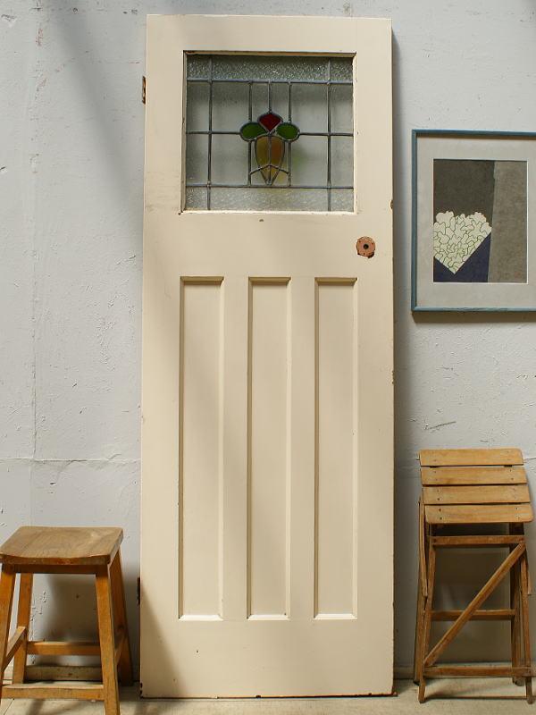 イギリス アンティーク ステンドグラス入り木製ドア 扉 ディスプレイ 建具 6459