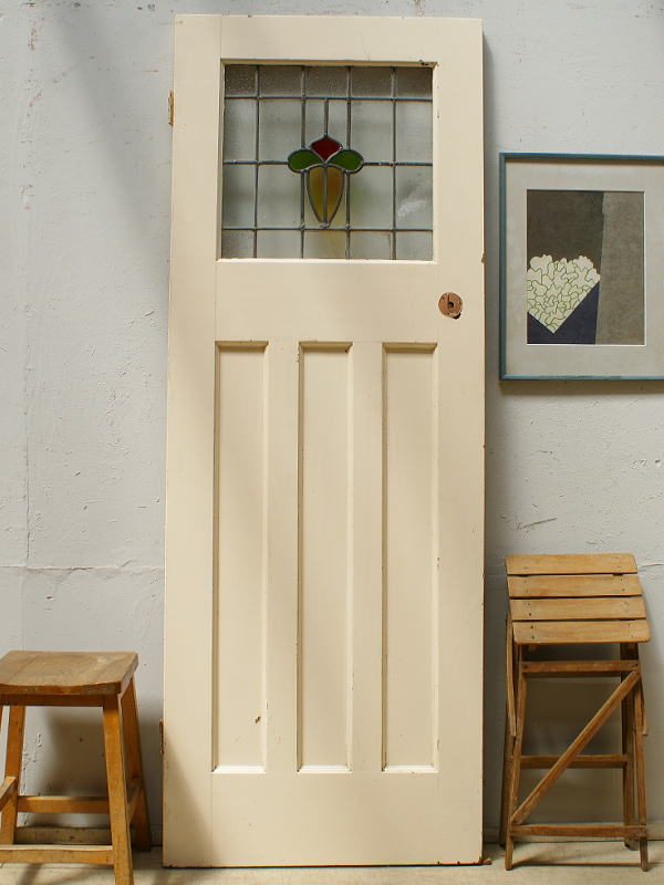 イギリス アンティーク ステンドグラス入り木製ドア 扉 ディスプレイ 建具 6460