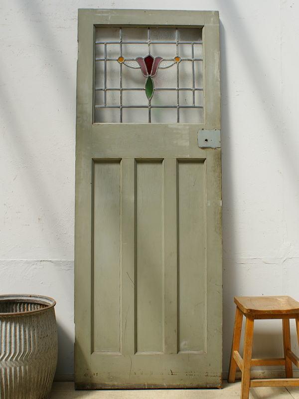 イギリス アンティーク ステンドグラス入り木製ドア 扉 ディスプレイ 建具 6465