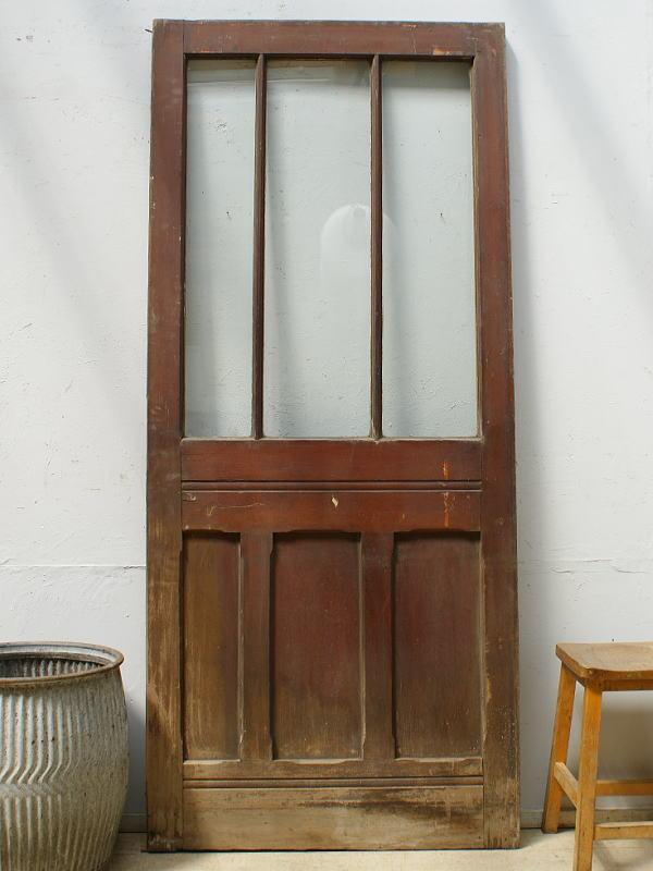 イギリス アンティーク ガラス入り木製ドア 扉 ディスプレイ 建具 6466