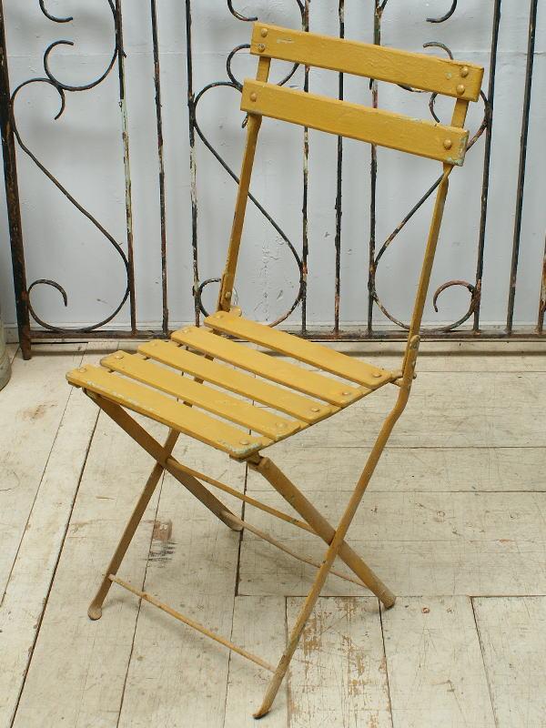 フレンチ アンティーク フォールディング ガーデンチェア 椅子  6496