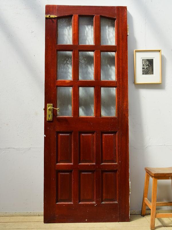 イギリス アンティーク ガラス入り木製ドア 扉 ディスプレイ 建具 6507