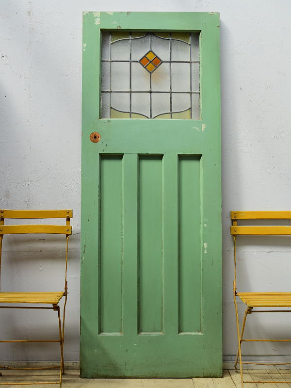 イギリス アンティーク ステンドグラス入り木製ドア 扉 ディスプレイ 建具 6513
