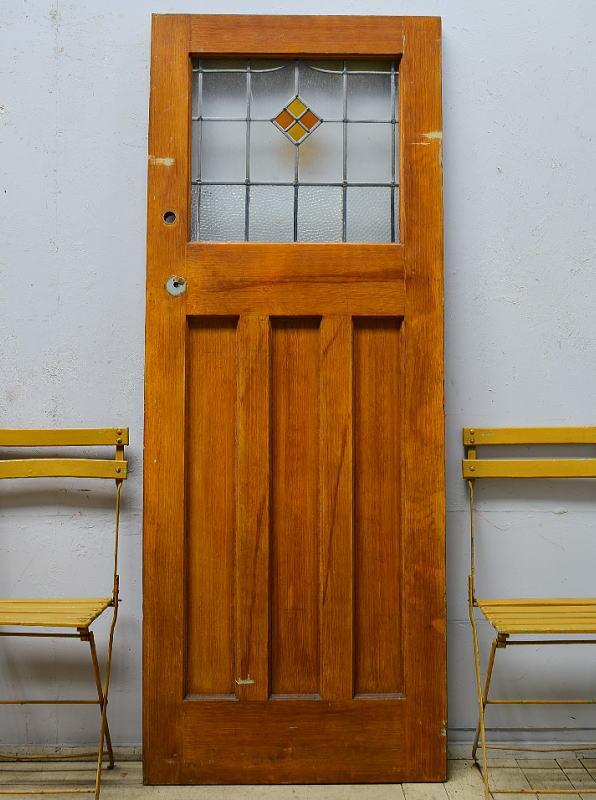 イギリス アンティーク ステンドグラス入り木製ドア 扉 ディスプレイ 建具 6515