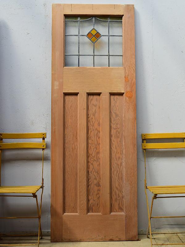 イギリス アンティーク ステンドグラス入り木製ドア 扉 ディスプレイ 建具 6516