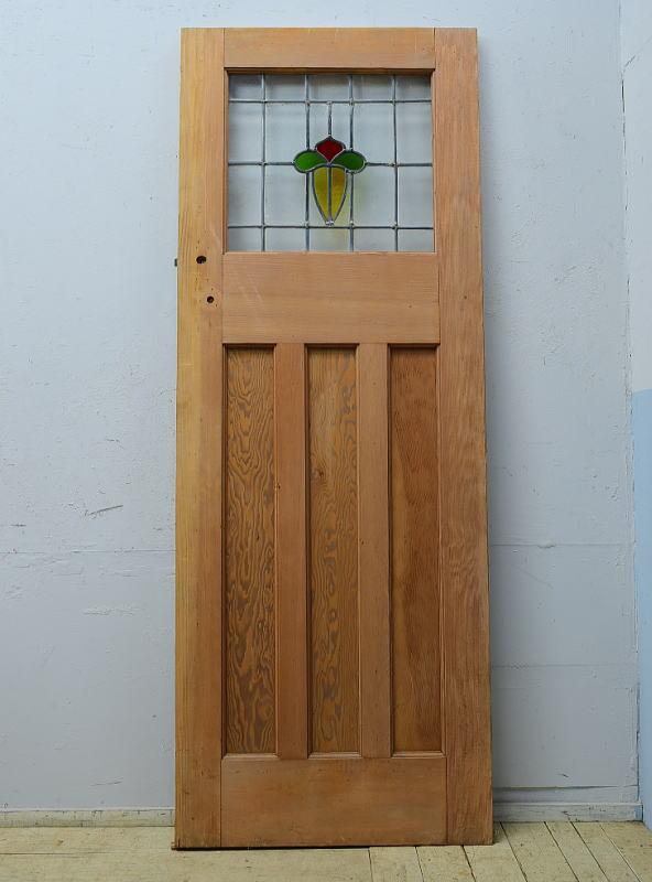 イギリス アンティーク ステンドグラス入り木製ドア 扉 ディスプレイ 建具 6524