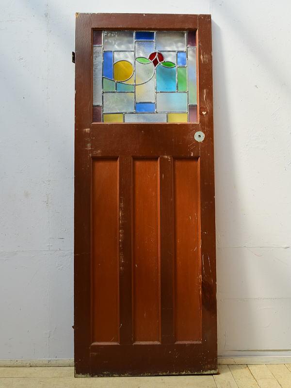 イギリス アンティーク ステンドグラス入り木製ドア 扉 ディスプレイ 建具 6525