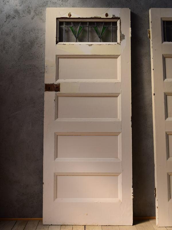 イギリス アンティーク ステンドグラス入り木製ドア 扉 建具 6539