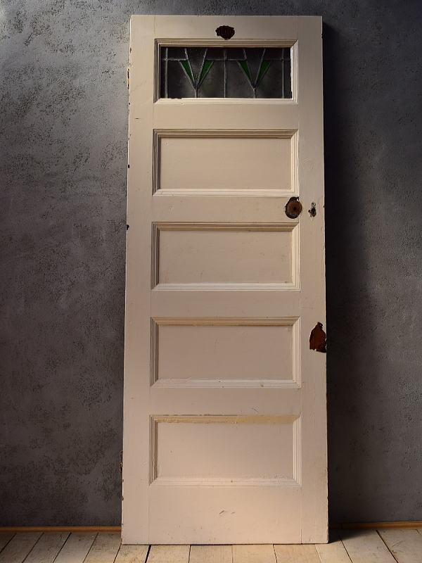 イギリス アンティーク ステンドグラス入り木製ドア 扉 建具 6540