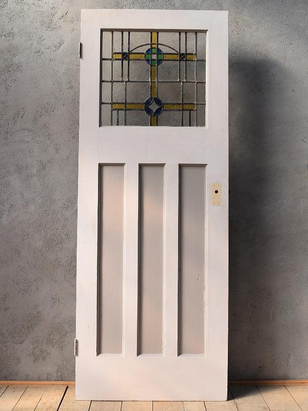 イギリス アンティーク ステンドグラス入り木製ドア 扉 建具 6574
