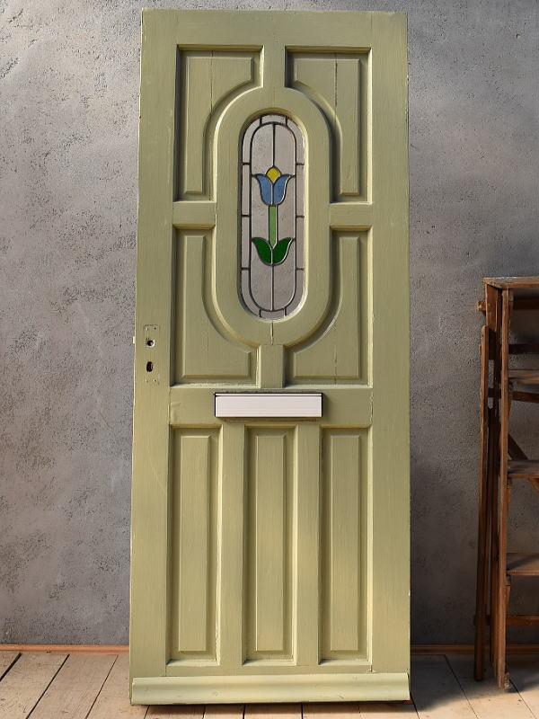 イギリス アンティーク ステンドグラス入り木製ドア 扉 建具 6575