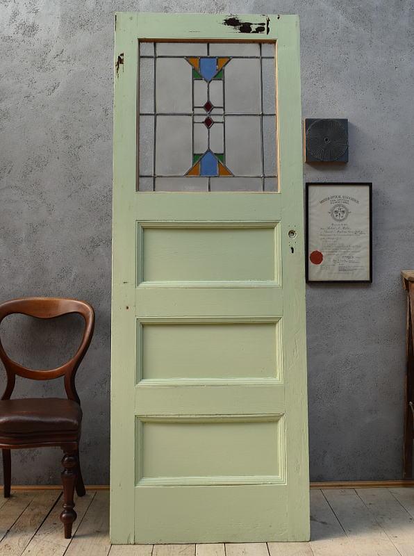 イギリス アンティーク ステンドグラス入り木製ドア 扉 ディスプレイ 建具 6580