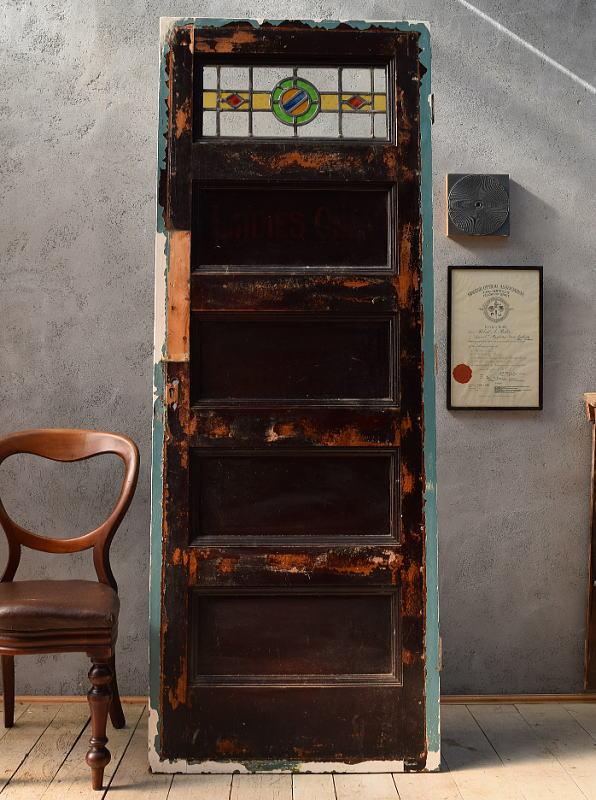 イギリス アンティーク ステンドグラス入り木製ドア 扉 ディスプレイ 建具 6581