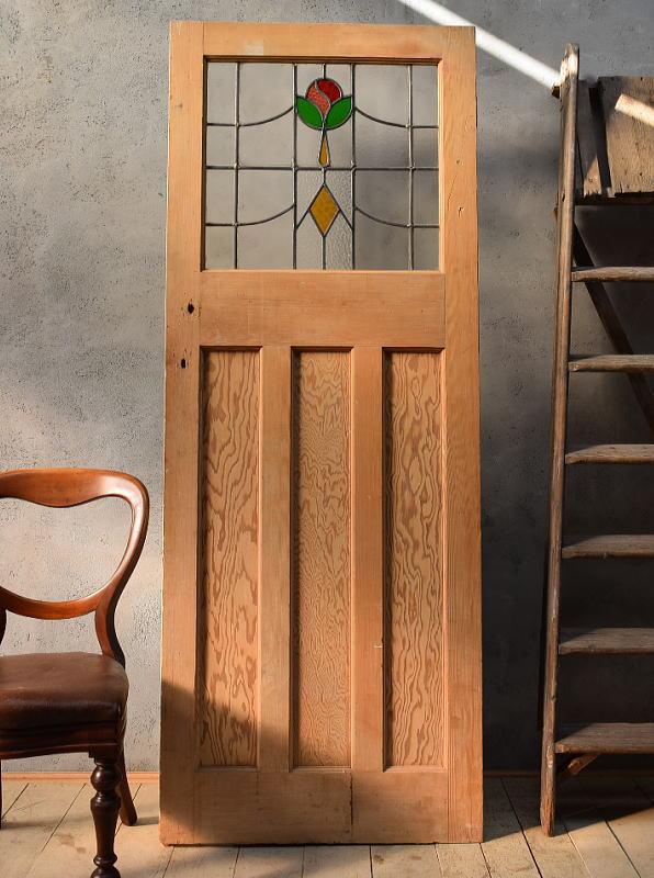 イギリス アンティーク ステンドグラス入り木製ドア 扉 ディスプレイ 建具 6606