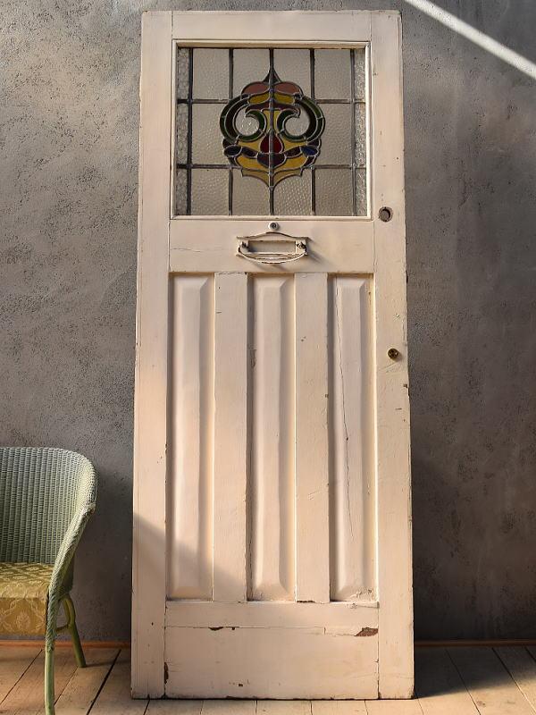 イギリス アンティーク ステンドグラス入り木製ドア 扉 ディスプレイ 建具 6635