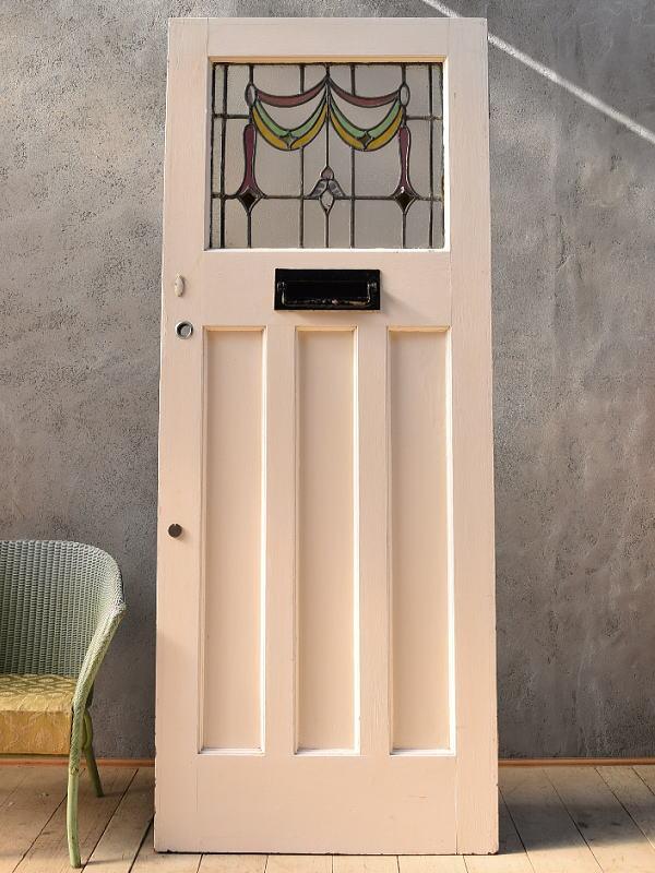 イギリス アンティーク ステンドグラス入り木製ドア 扉 ディスプレイ 建具 6636