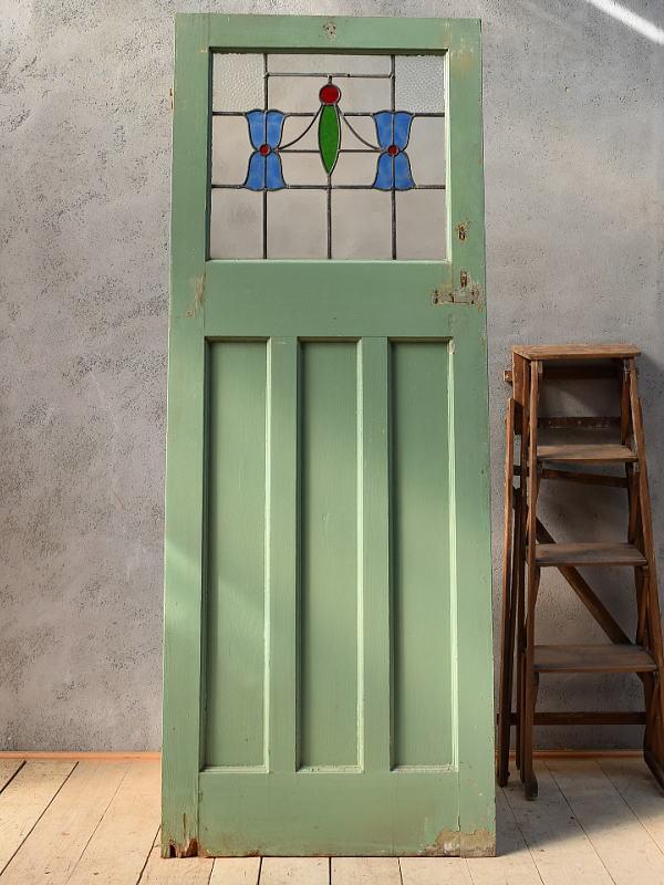 イギリス アンティーク ステンドグラス入り木製ドア 扉 ディスプレイ 建具 6640