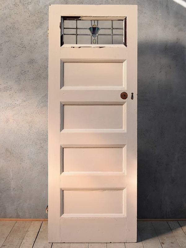 イギリス アンティーク ステンドグラス入り木製ドア 扉 ディスプレイ 建具 6652