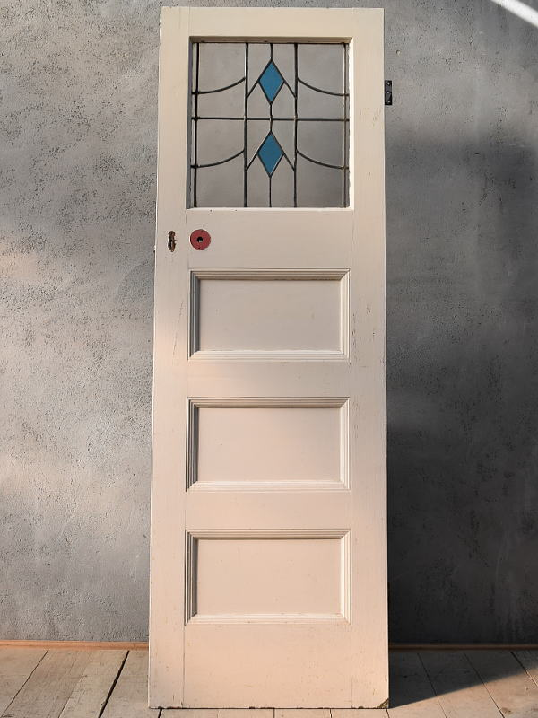 イギリス アンティーク ステンドグラス入り木製ドア 扉 ディスプレイ 建具 6653