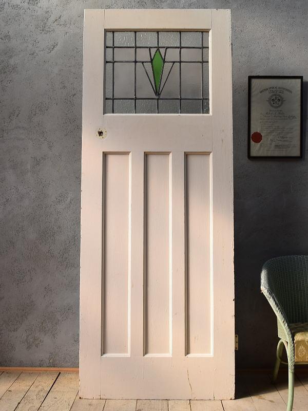 イギリス アンティーク ステンドグラス入り木製ドア 扉 ディスプレイ 建具 6667