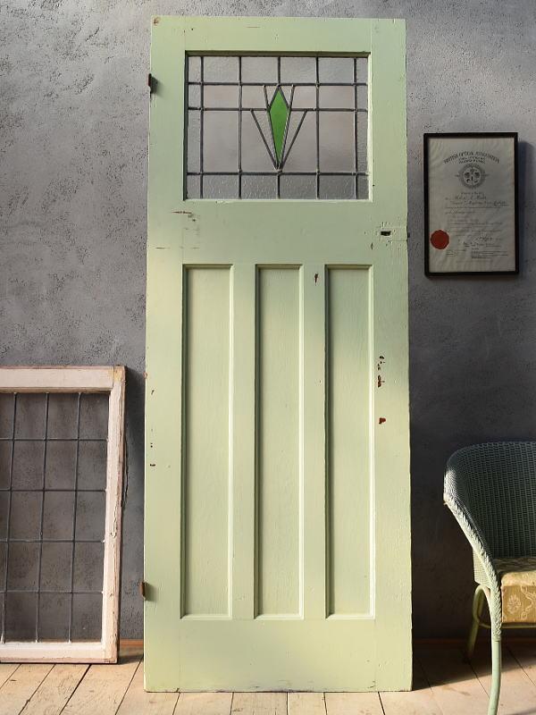 イギリス アンティーク ステンドグラス入り木製ドア 扉 ディスプレイ 建具 6668