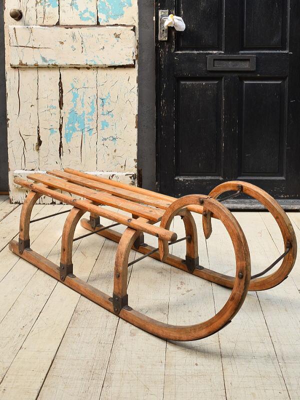 (旧)東ドイツ製 アンティーク 木製ソリ 6764