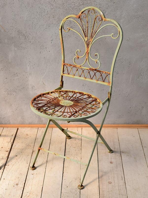 イギリス アンティーク アイアンガーデンチェア 椅子 6787