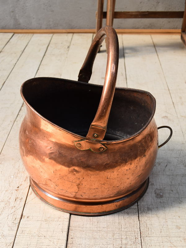 フレンチ アンティーク 銅製 コールバケツ プランターカバー 6804
