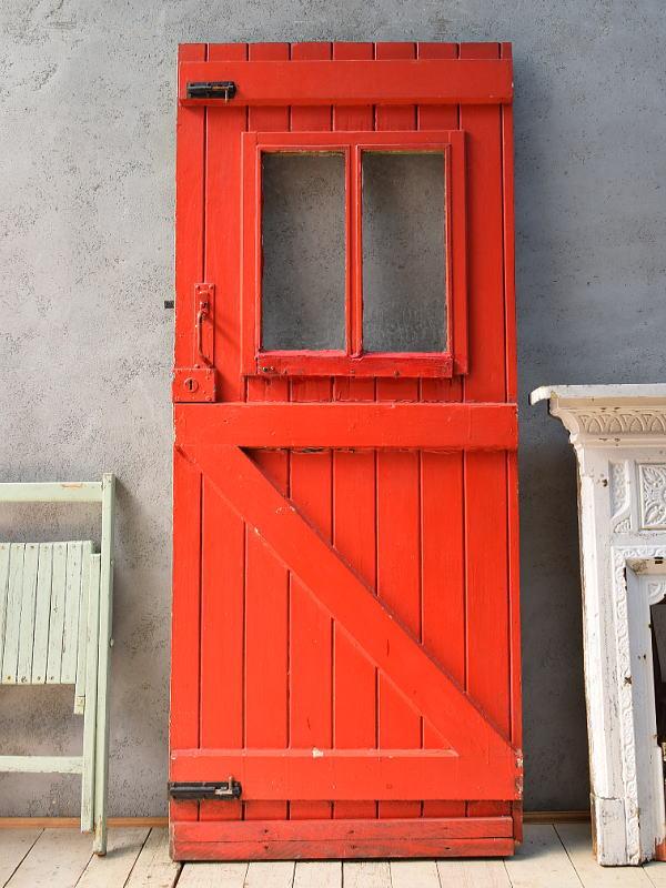 イギリス アンティーク ガラス入り木製ドア 扉 ディスプレイ 建具 6818
