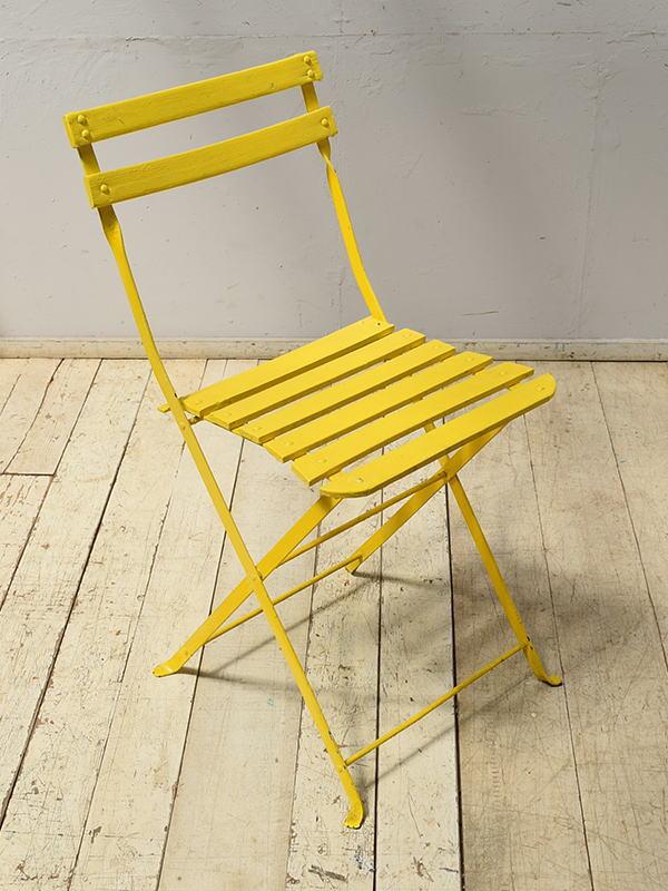 フレンチ アンティーク フォールディング ガーデンチェア 椅子 6898
